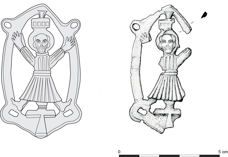 Pilgrim badge of St Andrew, with the reconstruction on the left.